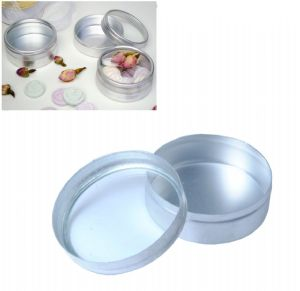 Set of Round Tin Wedding Favour Sweets Almonds Gift Containers With Clear Top Lids. S7240